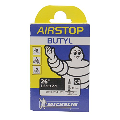 Michelin Airstop Butyl Tube - Michelin Airstop C4 Butyl MTB Bike Tube (26 x 1.6/2.1, 40mm Presta Valve)