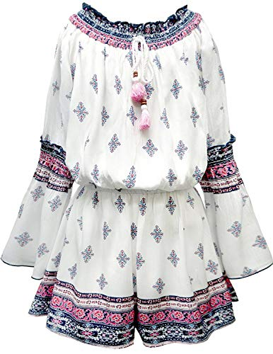 Truly Me Big Girls Tassel & Smocking, Bohemian Border Print Crinkle One Piece Romper with Long Sleeve and Lining, (Size 12) -