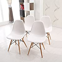 Eames Style Chair WV LeisureMaster Eames Style Chairs with Natural Wood Legs,White,Set of 4