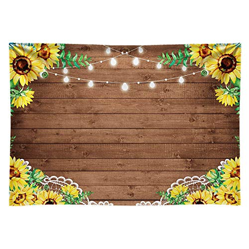 Sunflower Baby Shower - Funnytree 7x5ft Durable Fabric Sunflowers Rustic