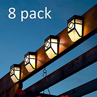 [8 Pack] Solar Wall Lights Outdoor, ROJOY Waterproof LED Garden Wall Mount Fence Step Lighting for Patio Pathway