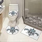 Carl Morris Fleur De Lis toilet floor mat set Grungy Lily Retro Renaissance Spirit Element Victory Holy Artwork Print Non-slip Soft Absorbent Bath Rug Blue White Black
