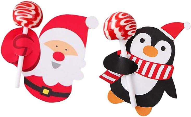 Toyvian 2 Paquets De Cartes De Papier De Sucette De Noel Dessin Anime Couleur Emballage Decoration Bonbons Detenteurs Pour La Fete De Mariage Amazon Fr Cuisine Maison