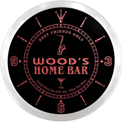 ncx1078-tm Wood's Home Bar Beer Custom Name Neon Sign Clock