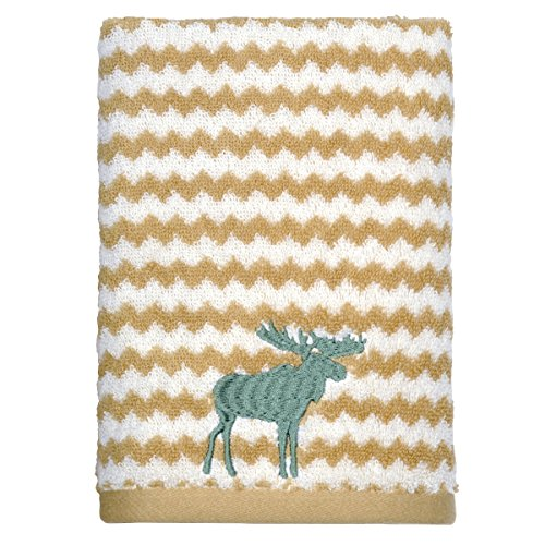 (Peri Home Embroidered Moose 100% Cotton Hand Towel, 15