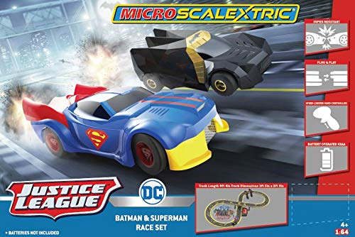 Scalextric Justice League Batman vs Superman Battery Powered 1:64 DC Comics Superheros Slot Car Race Track Set G1151T