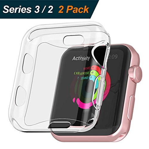 【2 Pack】 BRG for Apple Watch Screen Protector and Case 38mm, Built in Soft TPU for Apple Watch Case All-around Protective iWatch Case for Apple Watch Series 3, Series 2