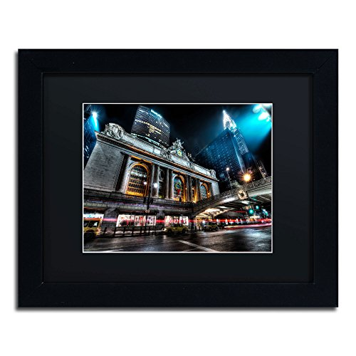 Grand Central Terminal 42nd Street-Manhattan Framed Art by David Ayash, 11 by 14-Inch, Black Matte with Black Frame ()