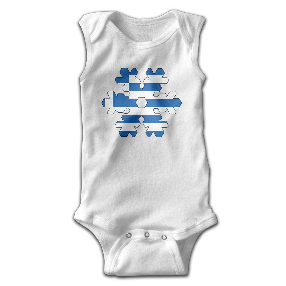 MMSSsJQ6 Greece Greek Flag Snowflakes Baby Newborn Crawling Suit Sleeveless Rompers Romper Jumpsuit White