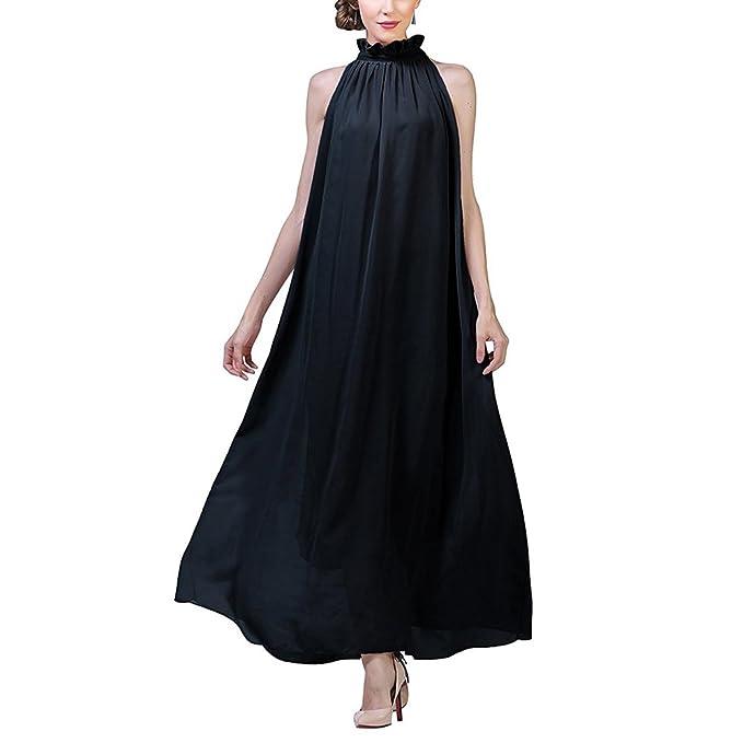 iShine Mujeres Vestidos Cuello Halter Elegante Plisado Gala Chiffón Maxi Largo Vestido de Fiesta de Noche