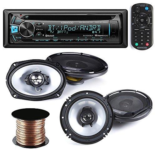 Kenwood KDC-BT362U Car Stereo Radio CD MP3 Receiver with Bluetooth AM/FM Radio Player + (pair) 6x9 Speakers + (pair) 6.5 inch Speakers,50 Ft 18g Speaker Wire (Kenwood Indash Cd Player)
