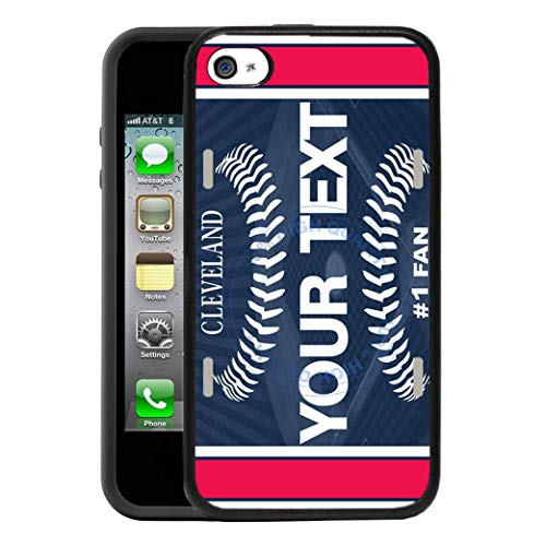 BRGiftShop Personalize Your Own Baseball Team Cleveland Rubber Phone Case For Apple iPhone 4 4s (Cleveland Indians Iphone 4s Case)
