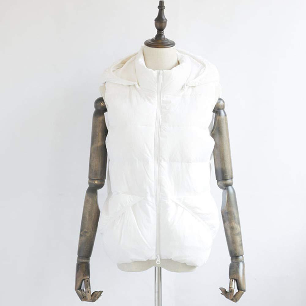 Blanc Vest De En Femme Canard Duvet Capuche Sauvage Gilet MpUVGqSz