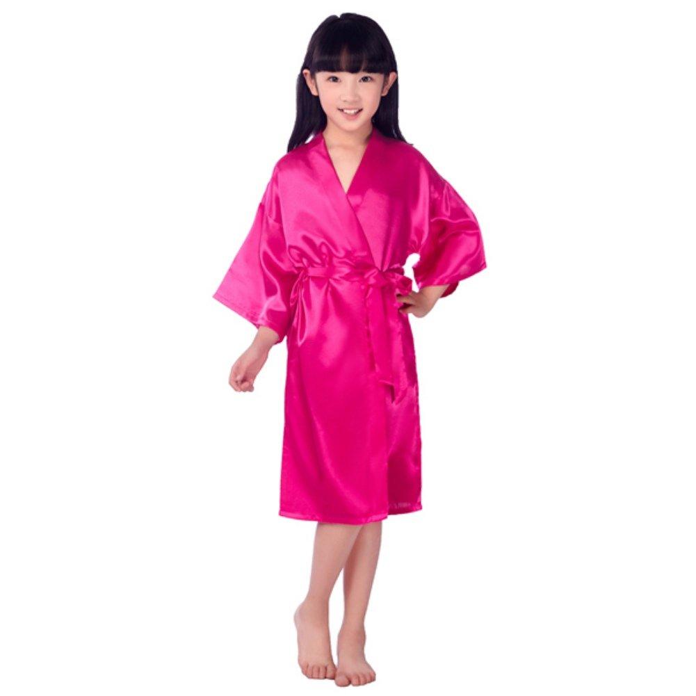 Minuya Kids Summer Silk Satin Kimono Sleepwear Gown Bathrobe