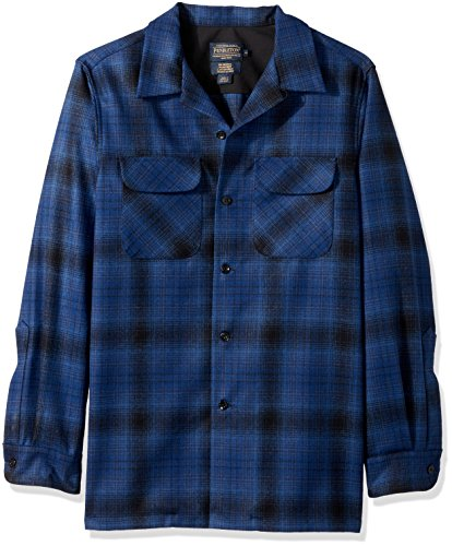 Machine Black Catalog - Pendleton Men's Fitted Long Sleeve Board Shirt, Blue/Black Ombre-31951, LG