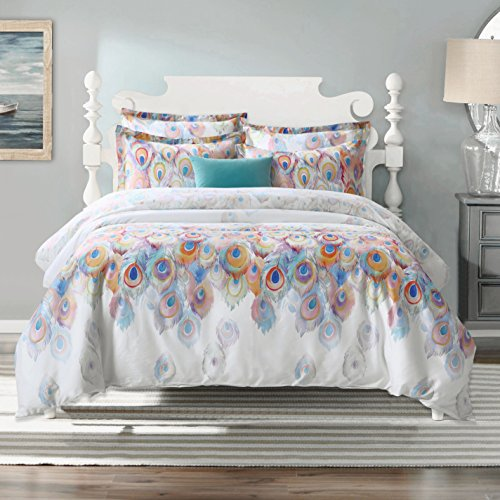 Aivedo 600 Thread Count Cotton 3 Pieces Duvet Cover Set Egyptian Quality Bedding Set Peacock Printing Watercolor Pattern,1 Duvet Cover 2 Pillow Shams - Full/Queen Size