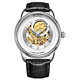 BUREI Men's Automatic Mechanical Watch with Sapphire Crystal Gold Tone Skeleton Metal Black Leather Strap