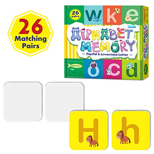 26 Pairs Double-Sided Erasable Lowercase and Capital Letter Matching Game,Alphabet Flash Cards (Each Measures 2.2