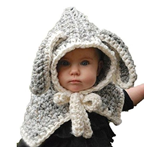 PAUBOLI Kids Winter Knitted Hood Scarf Beanies Ear Warmers Cartoon Fox Rabbit Bear Wolf Cloak Woolen Cap Coat Set