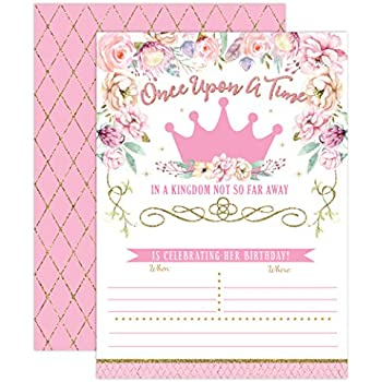 Princess Birthday Invitations Girl First Birthday Princess Party Invites Pink And Gold 1st Birthday 20 Fill In Style With Envelopes
