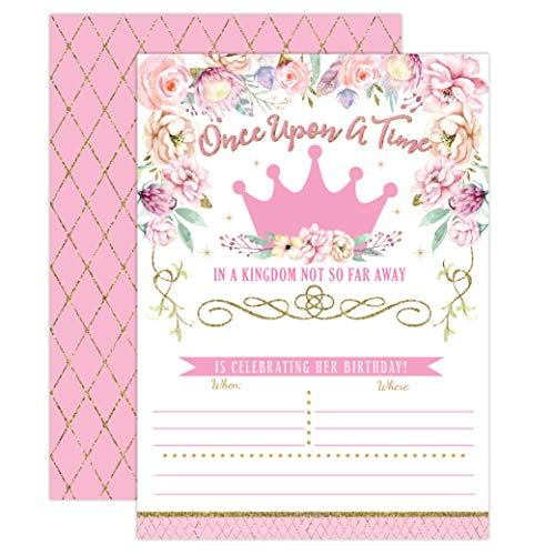 Princess Birthday Invitations, Girl First Birthday Princess Party Invites, Pink and Gold 1st Birthday, 20 Fill In Style with - Princess Birthday First Party