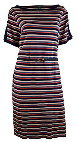 Ralph Lauren Women's Plus Short-Sleeve Striped-Print Dress-M-1X