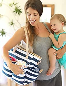 Mommy Baby Diaper Bag with Matching Changing Pad (Striped) Waterproof Canvas Tote | Trendy Shoulder or Adjustable Crossbody Carry | 9 Pockets (Navy/White)