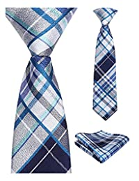 Enlision Boys Check Pre-Tied Neckties & Pocket Square Set Neck Strap Tie for Kids
