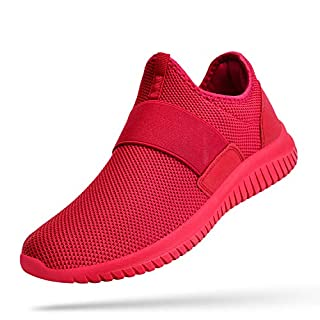 Troadlop Women Red Sneakers Slip on Red Tennis Shoes Laceless Casual Workout Shoes for Women Mesh Breathable Air Cushion Running Shoes 5 M US
