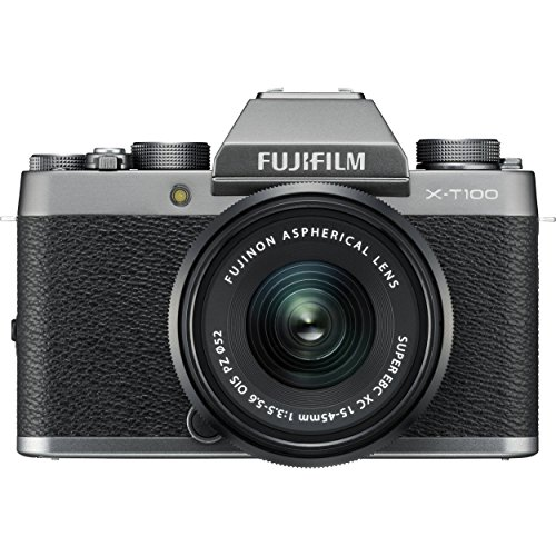 Fujifilm X-T100 Mirrorless Digital Camera w/XC15-45mmF3.5-5.6 OIS PZ Lens - Dark Silver