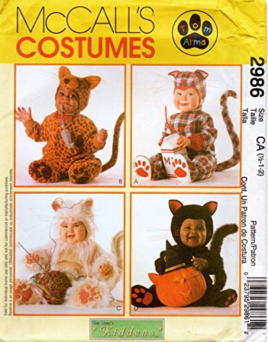 McCalls 2986 Baby Infant Toddler Animal Cat Jumpsuit and Hood Costume Sewing Pattern Size 1/2-1-2 -