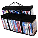 Evelots Portable Home DVD Blu-Ray Video Games Storage Bags Holds 80 Total, S/2