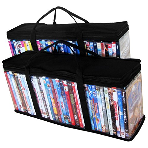 Evelots Portable Dvd Blu-Ray Storage Bags (Set of 2), Black