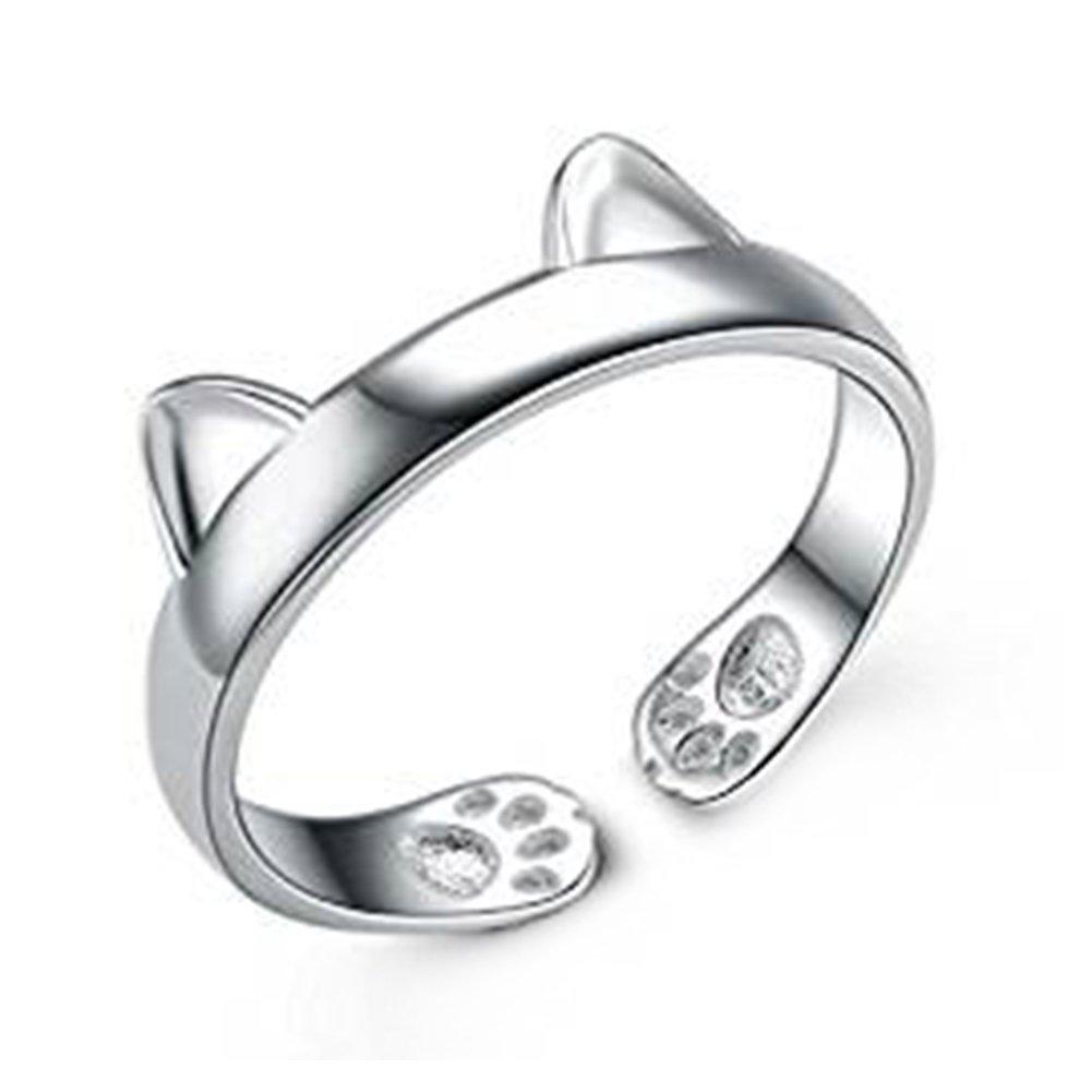 Fablcrew carino anello argento dell' orecchio di gatto artiglio anello aperto anello regolabile wedding Jewelry for Lady Girls