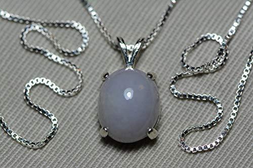 - Certified Lavender Jadeite Necklace With Lab Certificate, 6.05 Carat Lavender Jade Cabochon Pendant, Sterling Silver, Real Genuine Natural