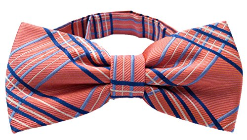 navy blue and coral bow tie - 4