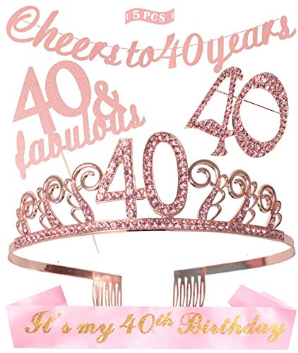 40th Birthday Decorations Party Supplies | Pink 40th Birthday Tiara | 40th Pink Satin Sash It's my 40th Birthday | Pink Glittery Cheers to 40 Years Banner |40 and Fabulous Cake Topper | 40 Pink Rhine