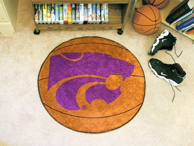 Fanmats Basketball Area Rug w Official KSU Wildcat Logo In Purple (University Rug Area State Basketball)