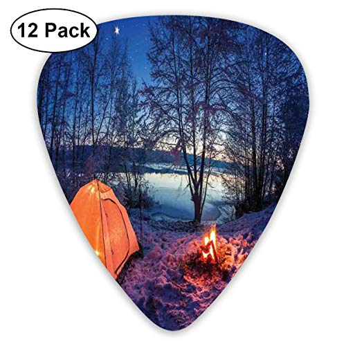 Guitar Picks - Abstract Art Colorful Designs,Dark Night Camping Tent Photo In Winter On Snow Covered Lands By The Lake,Unique Guitar Gift,For Bass Electric & Acoustic Guitars-12 - Tent Green Engraved