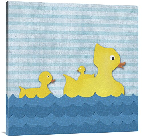 """Global Gallery GCS-388518-3636-142 """"Bg.Studio Ducks-Mother Duck with Two Ducklings"""" Gallery Wrap Giclee on Canvas Print Wall Art from Global Gallery"""