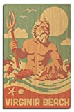 Lantern Press Virginia Beach, Virginia - King Neptune Statue - Retro Beach (10x15 Wood Wall Sign, Wall Decor Ready to Hang)