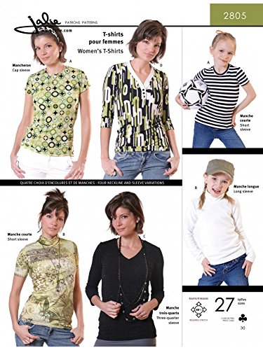 Jalie Ladies Girls Easy Sewing Pattern 2085 Jersey Knit T Shirts