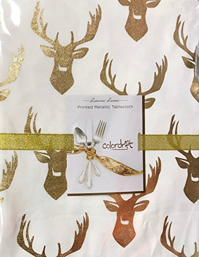 Christmas Holiday Tablecloth in Gold Metallic Foil Reindeer Print - 60 x 84 inches