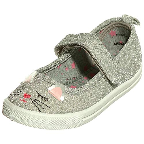 (Girl's Animal Face Mary Jane Canvas Shoes(10, Silver)[Apparel])