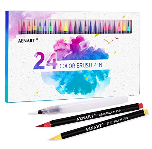 Watercolor Real Brush Pens Set, 24 Vibrant Markers