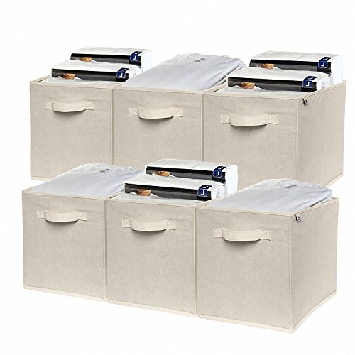 Foldable Cloth Storage Cubes 6-Pack By Deneve - Best Fabric Basket Bins Shelves