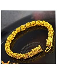 Firewings 24K Real Yellow Gold Filled Bracelet Chain Duble Dragon Heads Bones Solid Men Women Gift