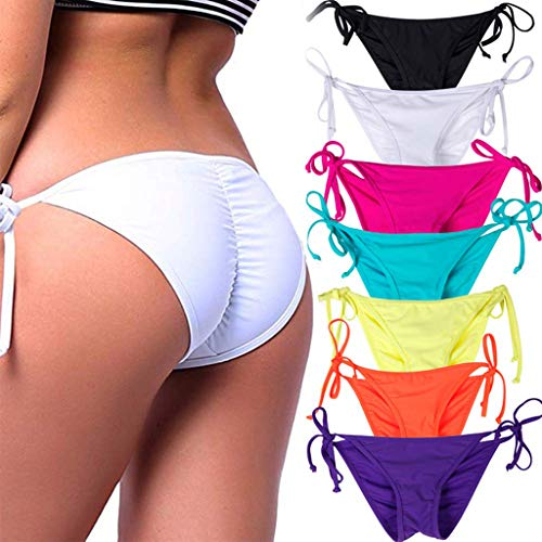 - STARBILD Women's Sexy Brazilian Bikini Bottom with Tie-Side Cheeky V Cut Thong Swimsuit M White