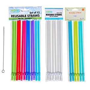 Set of 24 Clear and Rainbow Color Replacement Reusable Tumbler Water Bottle Acrylic Straws with STRAW CLEANER BRUSH