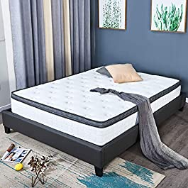 10.2 inch UK King Memory Foam Hybrid Pocket Sprung Mattress -Breathable Bamboo Soft Fabric -Pressure Relief with Multi-Functional 9-Zone Support System -Medium Firm Feel-30 Risk-Free Nights Trial …